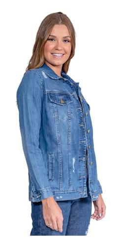Imagem 1 de 4 de Jaqueta Jeans Maxi Feminina Revanche Chandelle Azul
