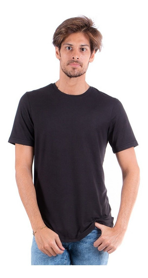 Playera Básica Lisa Cuello Redondo Slim Fit Negra