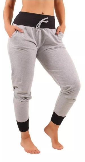 Kit 4 Calça Feminina Jogger Moletom Cintura Alta Skinny Slim