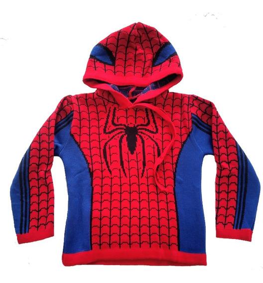 Casaco Blusa Agasalho De Lã Com Capuz Infantil Homem Aranha