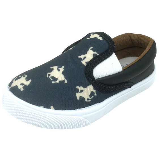 Slip On Monte Carlo Polo Club Iate Cavalinhos Kids Preto
