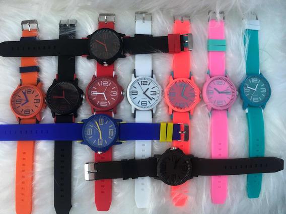Kit C/ 10 Relógios Varias Cores Ajustável Masculino Feminino