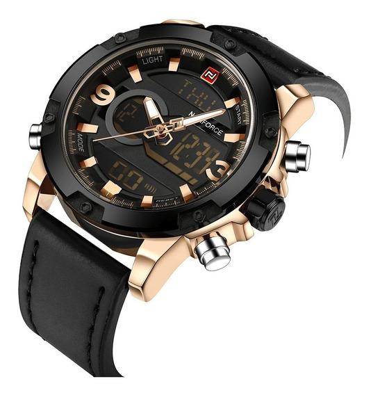 Relógio Analógico/digital Naviforce Couro Dourado Luxo Masc.