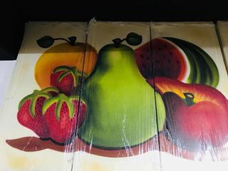 Cuadro Al Oleo Frutas Triptico Moderno