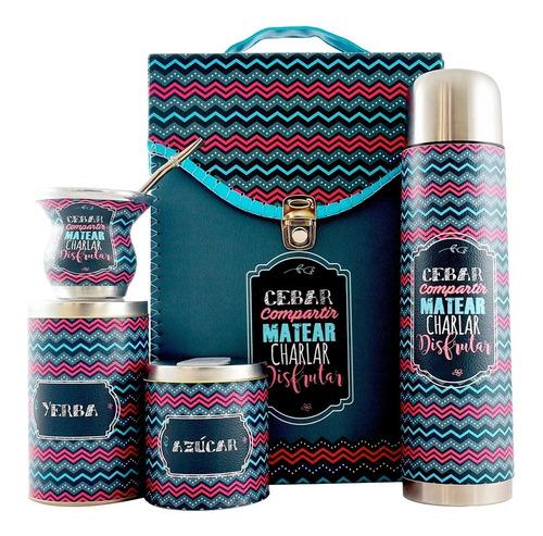 Equipo De Mate Completo Cuero Eco Set Kit Matero Regalo