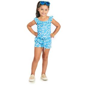 Macaquinho Infantil Azul Barquinhos - Bugbee