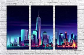 Quadro Decorativo Cidade Efeito Desenho Neon Salas 3 Pçs