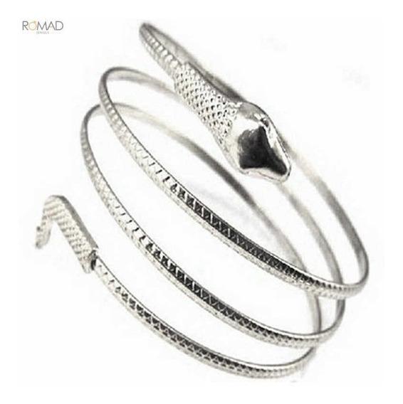 Fashion Pulseira Bracelete Braco Prateada Cobra Espiral Luxo