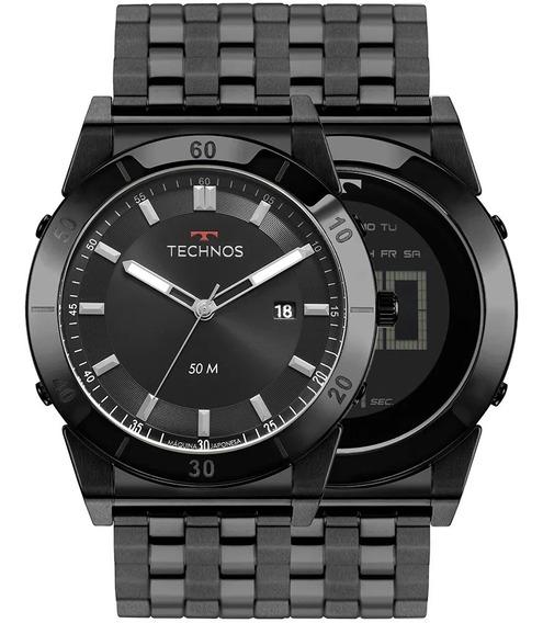 Relógio Masculino Technos Curvas Preto 1s13cr/4p