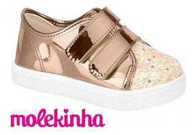 Tênis Infantil Molekinha 2118.118 Ouro Rosado - Menina 32118