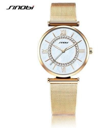 Relógio Feminino Sinobi Dourado/ouro Aço Inoxidável 9631