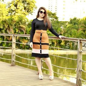 Vestidos Femininos Evangélico Com Botões Bicolor Manga Longa
