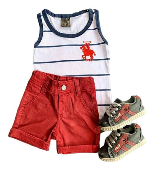 Conjunto Infantil Masculino Camiseta Regata Listra + Bermuda E Sapato