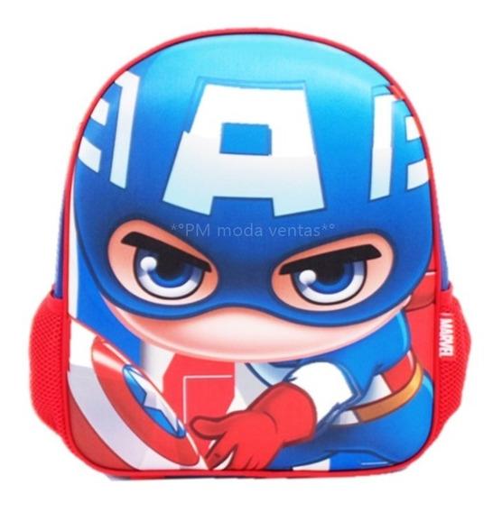 Mochila Capitan America Avengers Escolar Niño 3d Oferta