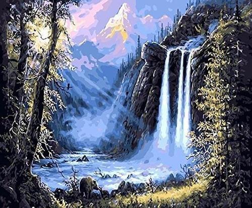 Imagen 1 de 5 de Diy Pintura Al Oleo Pintura Por Numero Cascada Kit Para Niñ