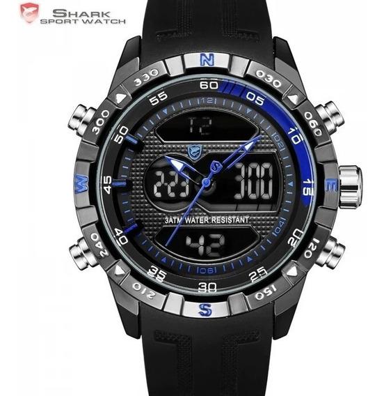Relógio Shark Original Esportivo Preto E Azul