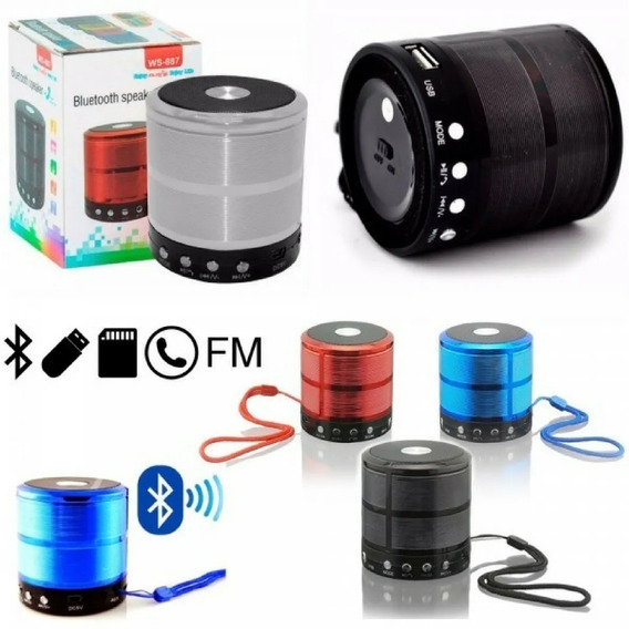Mini Caixa De Som Speaker Ws-887 Com Bluetooth, Fm, Entrada.