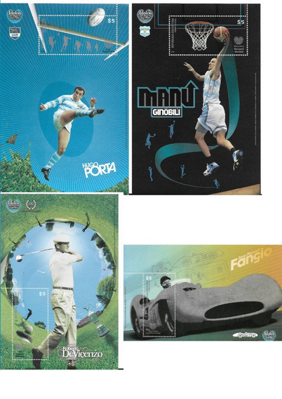 Estampillas 2008 Idolos Del Deporte Ginobili, Fangio, Porta