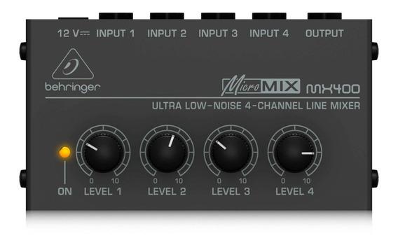 Mixer De 4 Canais Com 4 Entrada E 1 Saída | Conexão P10 Mono Ts | Fonte Bivolt | Behringer | Mx400
