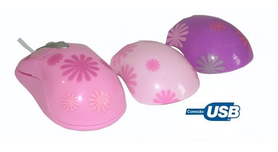 Mouse Óptico Usb Rosa Capinhas Extras Sakar 81397