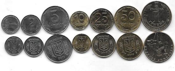 7 Monedas Ucrania Año 2009/14 Sin Circular