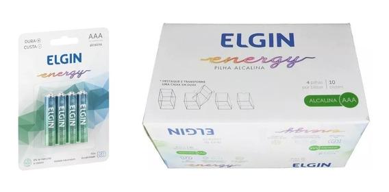 40 Pilhas Alcalina Aaa Caixa / 10 Blister C/ 4 Pilhas Elgin