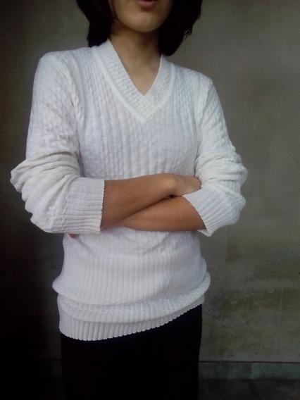 Sweater Blanco Trenzado Mujer Escote V. Envío Gratis!