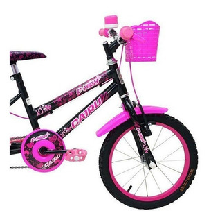 Bicicleta Infantil Cairu Aro 16 C-high Preto C/ Rosa
