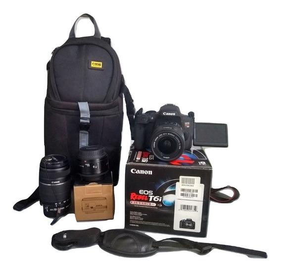 Canon Dslr T6i Kit 18 55 50 Mm 55 250 Mm Bolsa Kit Completo