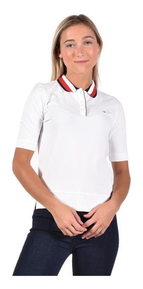 Polo Tommy Hilfiger Blanco Ww0ww25214-100 Mujer
