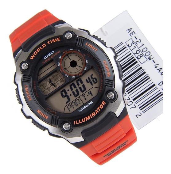 Relógio Casio Digital Ae-2100w-4a Vermelho Original 2100