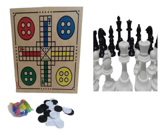 Jogo De Dama, Ludo E Xadrez - 3 Em 1 - Intelectus Suzano