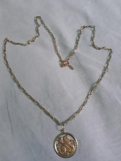 Cordao Em Ouro 18 K.... 60 Cm, Com Medalha De São Jorge.