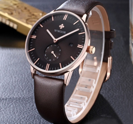 Relógio Ultra Slim De Luxo Masculino Wwoor Movimento Japônes