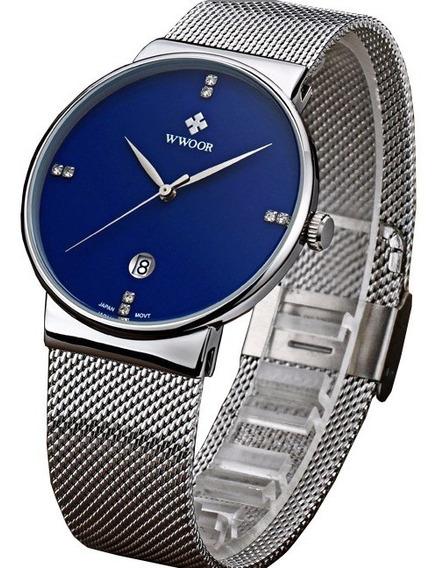 Relógio Masculino Preto Ultrafino Luxuoso Original C/ Caixa