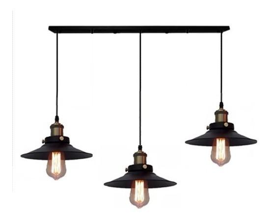 Pendente Industrial 22 Cm Barra Big Vintage + Lampadas Led