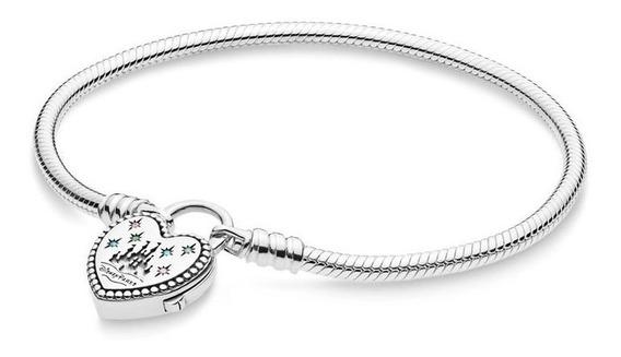 Bracelete Fecho Cadeado Coração Castelo Disneylândia