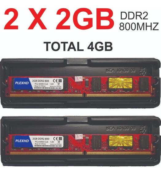 2 X Memoria 2gb Ddr2 800 Pc2-6400 -cl6 Usada