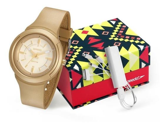 Relógio Speedo Feminino 65089l0evnp1 Dourado + Powerbank