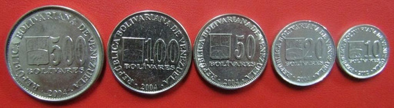 Venezuela Set De 5 Monedas Bolivar 2002 - 2004 Unc