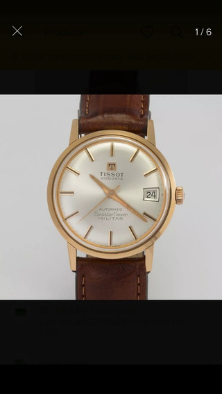 Relógio Tissot Vidiodat Sea Sevem Militar Em Ouro 18k