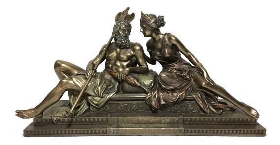 Veronese Imagem Deus Do Olimpo Zeus C/ Sua Esposa Hera 31cm