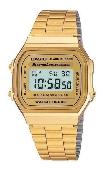 Relogio Casio Unisex A168 Retrô-vintage Dourado A168ewg-9wdf