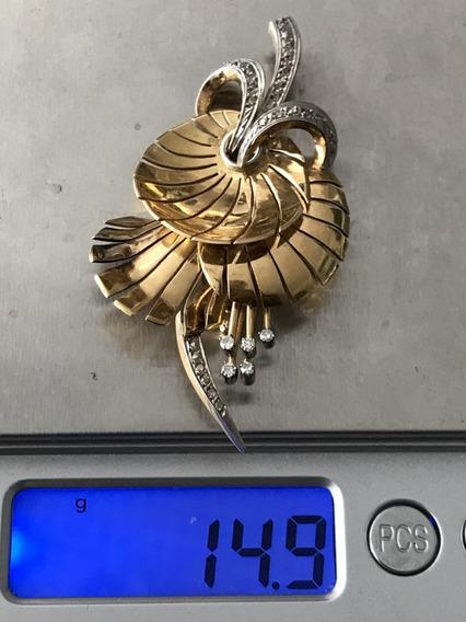 Broche Ouro 18k-750, 14.7 Grams 60x35mm.com Brilhantes.