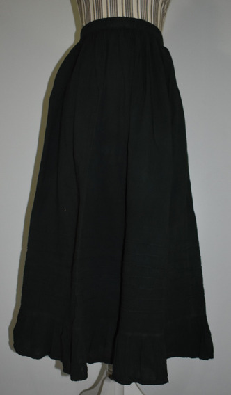 Falda Larga Mujer Plisada Artesanal De Manta Algodón,lisa