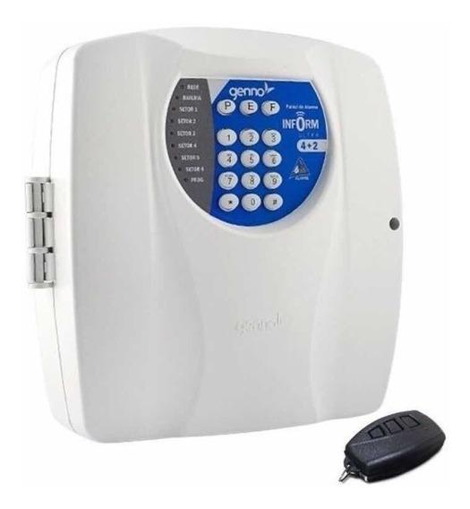 Central De Alarme Genno Inform Ultra 4+2 Setores Com Discadora + Controle