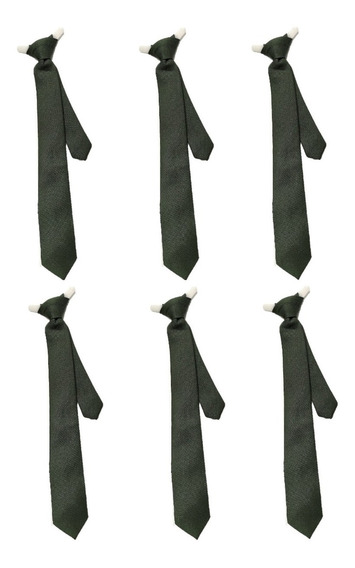 Pack De 6 Corbata Escolar Verde Olivo ¡envio Gratis!