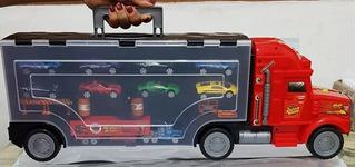 Caminhão Mack Mcqueen E 9 Carrinhos Transporta 26 Carrinhos