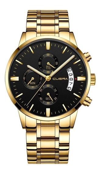 Relógio Masculino De Pulso Dourado Cuena Pronto Entrega