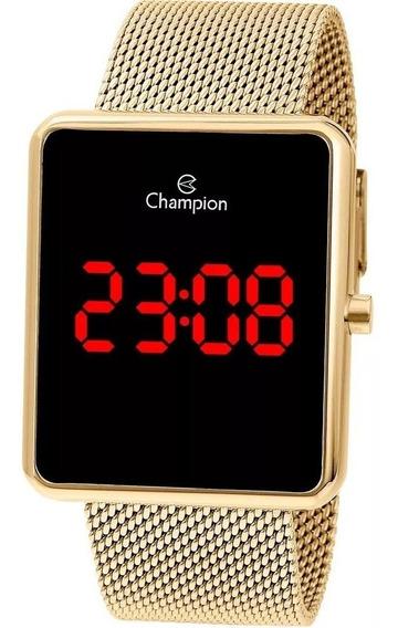 Relógio Champion Feminino Digital Quadrado Dourado Ch40080v